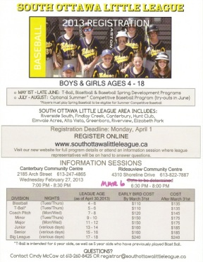 South Ottawa Little League Poster
